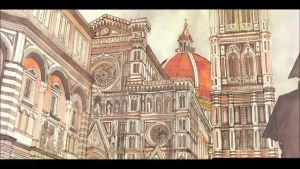 Florence WIP : from sketch to watercolor