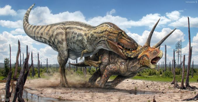 T.rex vs Triceratops by Swordlord3d
