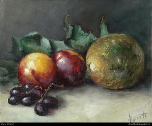 Nectarines and melon. Oil 2018 by alartstudio