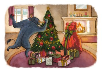 Bull vs Bear - Christmas Card by delia-lama