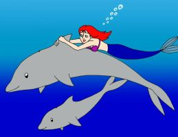 Jessie Mermaid and The Dolphins by streetgals9000 by JQroxks21