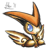 Victini .:Pen+Watercolor:.