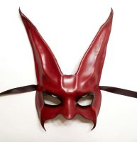 Rabbit leather Mask in Red and Black by teonova