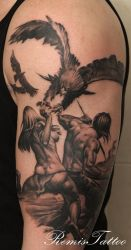 warrior girl eagle tattoo by Remistattoo