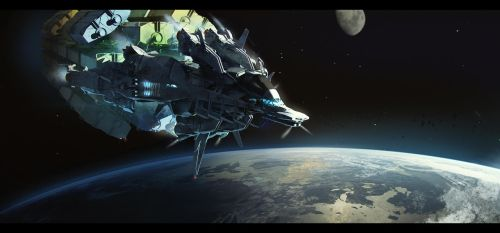 Cargo Ship in orbit by bradwright