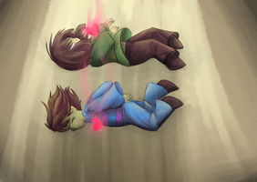 Fallen Chara and Frisk by Fliaky96