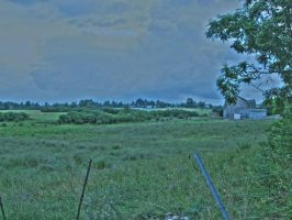 Barn and fields, HDR by Lectrichead