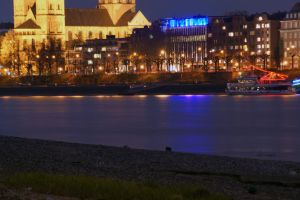 Cologne Rhine, with view to the old-city by night by Dodi0r