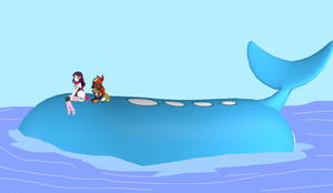 Dawn and May Sitting by a Wailord by lileehilee