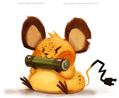 DAY 347. Dedenne...the power is out at home by Cryptid-Creations