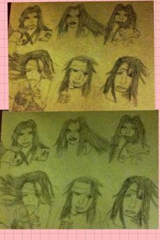 Sephiroth and Vincent sketches by Karaouq
