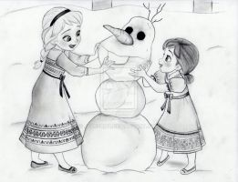 Elsa and Anna make Olaf by julesrizz