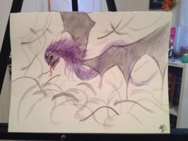 Watercolour purple dragon by HpyGrl567
