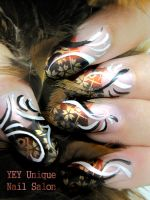 Asian print nail by YEYUniqueNail