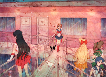 Sailor Scouts at the Pink Motel by jgvillu