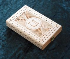Upcycled chip carved cigar box with initials by Hypernaut