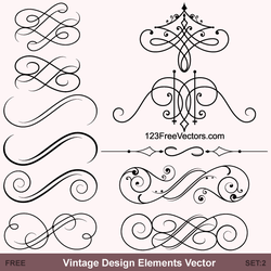 Vintage Calligraphic Vector Ornaments by 123freevectors
