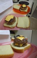 Cheese Stuffed, Soy Sauce Marinated 1/2lbs Burger by dogatemymanuscript