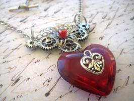 Red Heart Steampunk Necklace by RoyalKitness