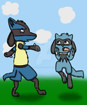 Funny photo with Lucario...... Re-Draw