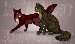 Hawkfrost and Brambleclaw -Redone- by RiverBelle