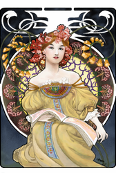 Reverie by Alphonse Mucha Colo by chrono75