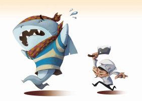 Running Shark by ben-ben