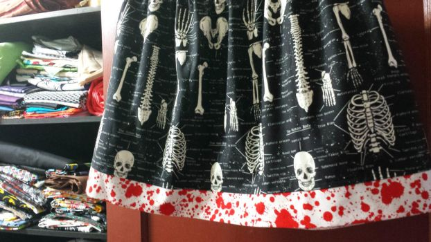 Commissioned skirt with skeletons and blood by AllisonEast