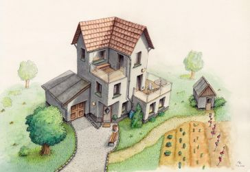 Haus in Buntstift - House with crayon by StampferAlex