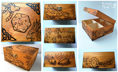 Wooden box-dragon and gryphon by FuzzyMaro