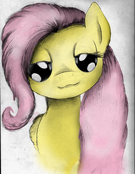 Fluttershy Front Sketch - Colored by AncientOwl