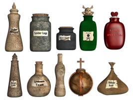 Spooky Potions PNG Stock by Roy3D