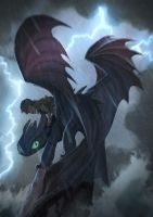 Night Fury and Rider by MonoFlax