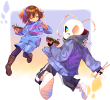 Sans And Frisk eating Jajamyeon 1/2 by Sansurichin