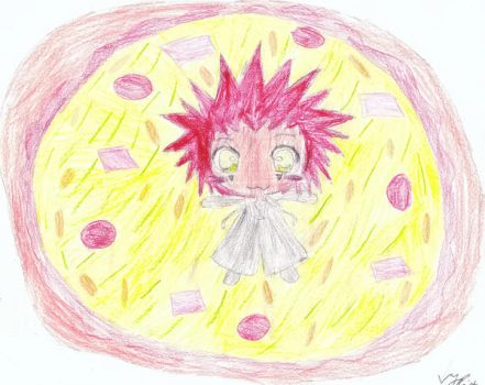 Axel and his pizza by OrgXIII-Namine