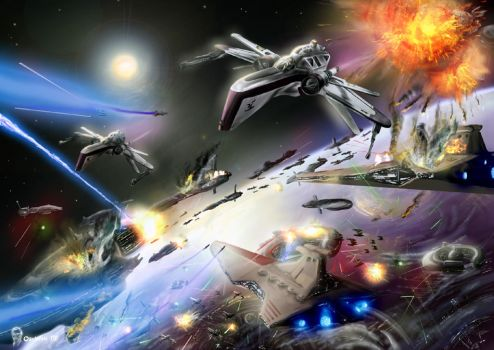 Battle over Coruscant by Obiwan00