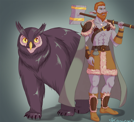 Quinfiir and the Owlbear by GlassLotuses