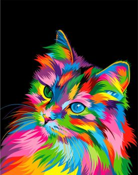Cute Cat Colorful Vector by weercolor