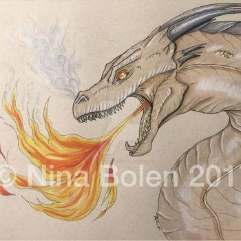 Dragon on toned paper by The-GoblinQueen