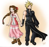 KH2: Cloud x Aerith by CapricornSun83