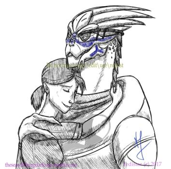 Day 2 Inktober - No Shepard without Vakarian by TwilightDreamKeeper