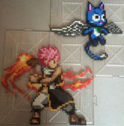 Natsu Dragneel and Happy Perler by TehMorrison