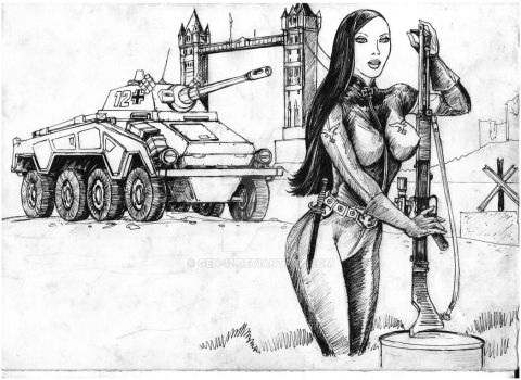 Puma and Guard Girl - ink by GEN-12