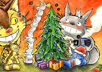 Christmas with Totoro by Merinid-DE