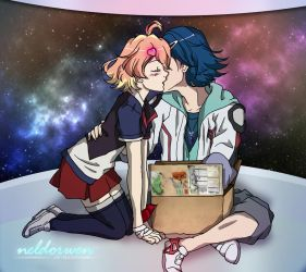 Macross Delta - Hayate and Freyja kiss by Neldorwen