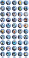 Water Type Pokemon Chibi Badges