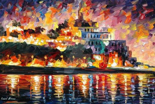 Ancient Harbor by Leonid Afremov by Leonidafremov