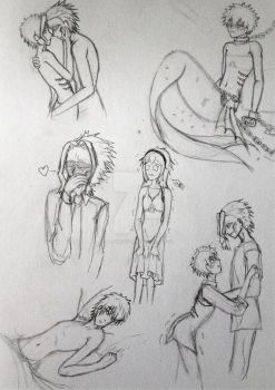 more of sketches of Mer Izuku and All might by GlitchTouch