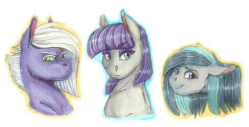 Portrait Series: Limestone, Maud, and Marble Pie by Earthsong9405