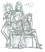 Group Pose Rough Sketch by Horoko